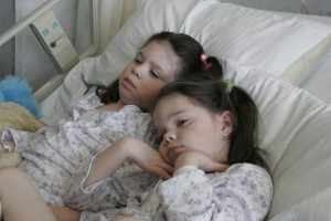 Addi and Cassi resting during cyclodextrin infusions